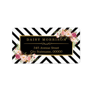 Vintage Floral Gold Black White Abstract Stripes Address Label