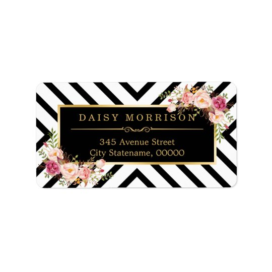 Vintage Floral Gold Black White Abstract Stripes Label