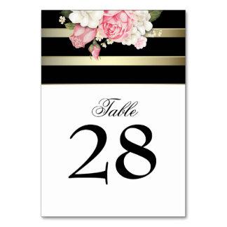 Vintage Floral Gold Black White Stripes Wedding Table Cards