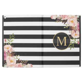 Vintage Floral Gold Girly Black White Stripes