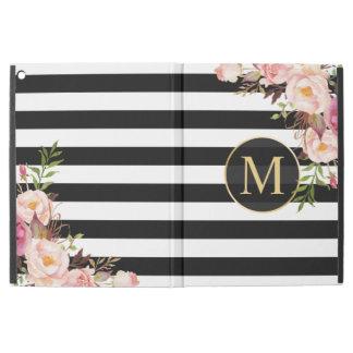 "Vintage Floral Gold Girly Black White Stripes iPad Pro 12.9"" Case"