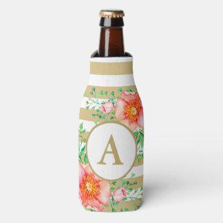 Vintage Floral Gold Monogram Gold White Striped Bottle Cooler