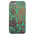 Vintage floral green and rust orange iphone 6 case