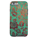 Vintage floral green and rust orange iphone 6 case tough iPhone 6 case