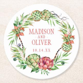 Vintage Floral Green & Pink Succulent | Wedding Round Paper Coaster