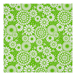 Vintage floral green Poster