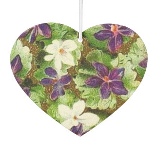 Vintage Floral Green Purple Violets Flowers Car Air Freshener