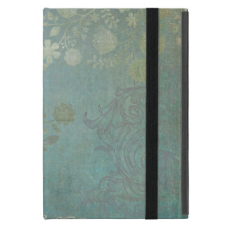 Vintage Floral Grunge Background Pattern in Blue iPad Mini Case