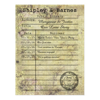 Vintage Floral Grunge Library Card Save The Date