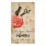 Vintage floral hair stylist salon girly scissors business cards