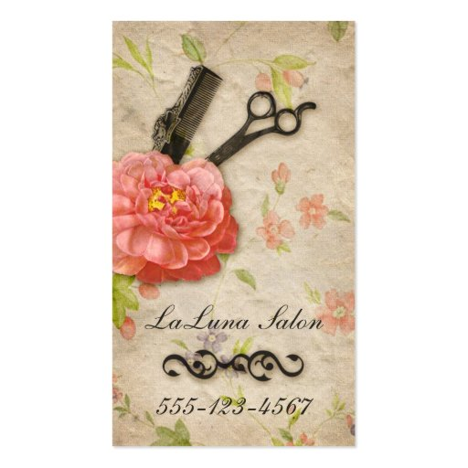 Vintage floral hair stylist salon girly scissors business cards