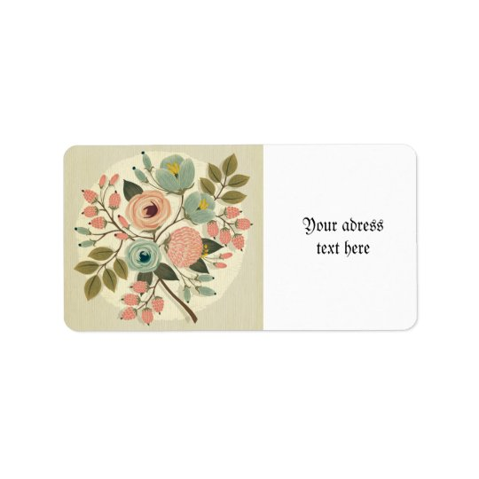 Vintage,floral,hand painted,water address label