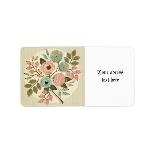 Vintage,floral,hand painted,water label