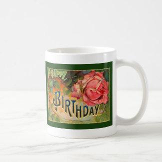 Vintage Floral Happy Birthday Mugs