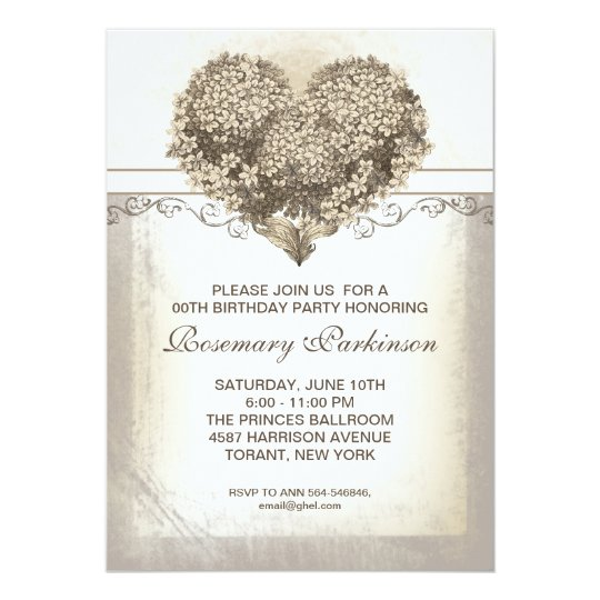 vintage floral heart birthday party card