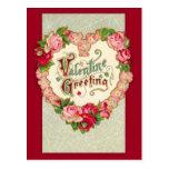 Vintage Floral Heart Valentine Postcard