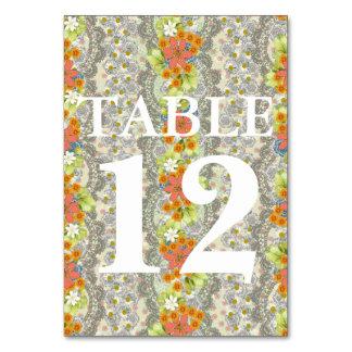Vintage Floral Heart Wedding Table Card
