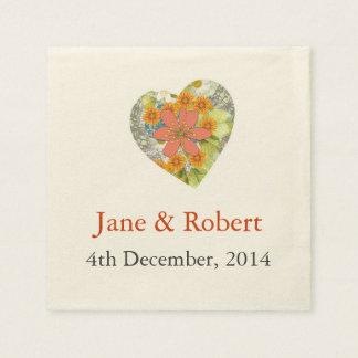 Vintage Floral Heart Wedding Paper Napkin