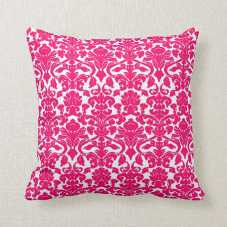 Vintage Floral Hot Pink Damask Seal Pillow