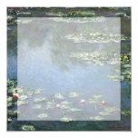 Vintage Floral Impressionism, Waterlilies by Monet 13 Cm X 13 Cm Square Invitation Card