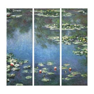 Vintage Floral Impressionism, Waterlilies by Monet Canvas Print