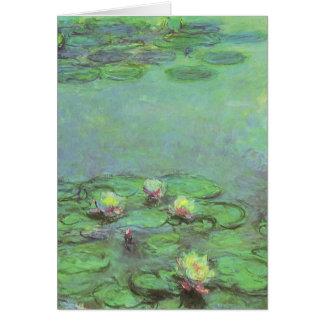 Vintage Floral Impressionism, Waterlilies by Monet Greeting Card