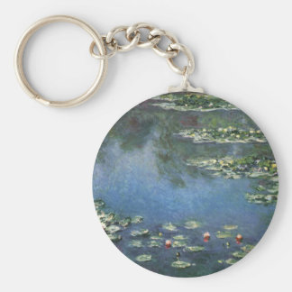 Vintage Floral Impressionism, Waterlilies by Monet Basic Round Button Key Ring