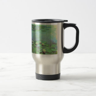 Vintage Floral Impressionism, Waterlilies by Monet Stainless Steel Travel Mug