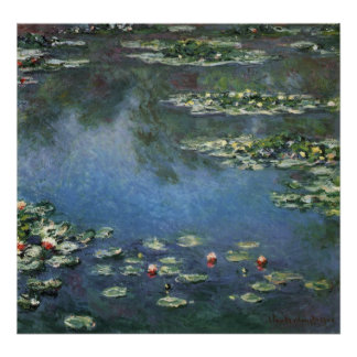 Vintage Floral Impressionism, Waterlilies by Monet Poster