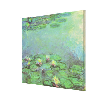 Vintage Floral Impressionism, Waterlilies by Monet Stretched Canvas Prints