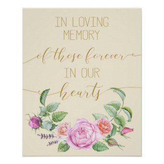 vintage floral in loving memory poster sign