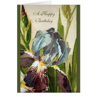 Vintage Floral Iris Garden Birthday Greeting Card