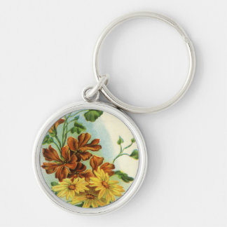 Vintage Floral Silver-Colored Round Key Ring