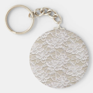 Vintage Floral Lace Basic Round Button Key Ring