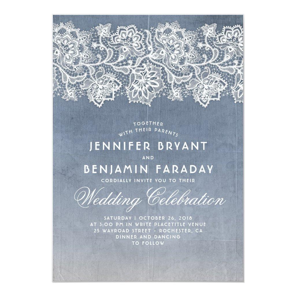 Vintage Floral Lace - Dusty Blue Wedding