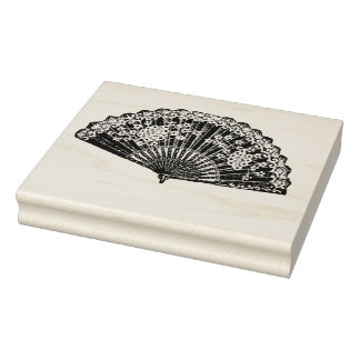 Vintage Floral Ladies Fan Rubber Art Stamp