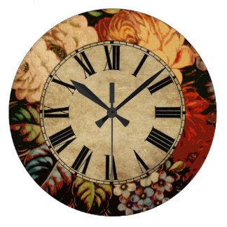 Vintage Floral Large Clock