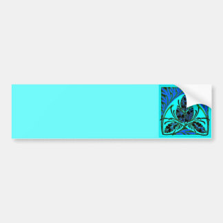 Vintage Floral Leaf Blue Green Bumper Stickers