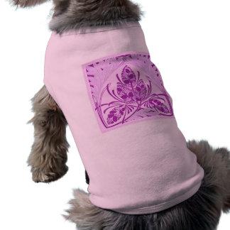 Vintage Floral Leaf Lavender Sleeveless Dog Shirt