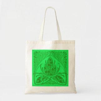 Vintage Floral Leaf Neon Green Canvas Bag