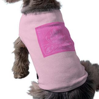 Vintage Floral Leaf Pink Sleeveless Dog Shirt