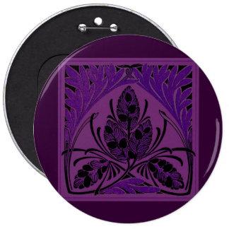 Vintage Floral Leaf Purple 6 Cm Round Badge