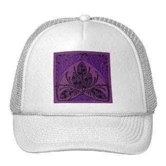 Vintage Floral Leaf Purple Mesh Hats