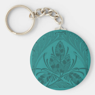 Vintage Floral Leaf Turquoise Basic Round Button Key Ring