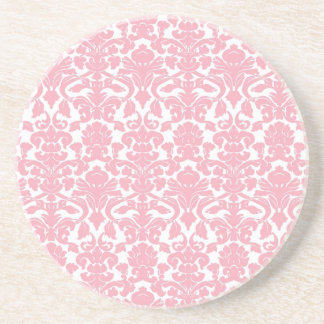 Vintage Floral Light Pink Damask Coaster