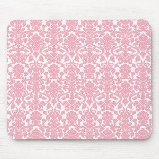 Vintage Floral Light Pink Damask Mousepad