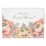 Vintage Floral Maid of Honour Cards