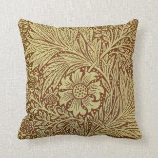 Vintage Floral Marigold Wallpaper Pattern Pillows