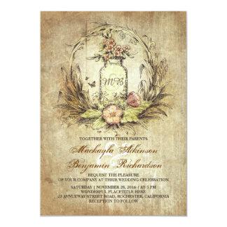 "Vintage floral mason jar rustic wedding invitation 5"" x 7"" invitation card"