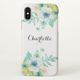 Vintage Floral Modern Script Mint Gold Roses iPhone X Case